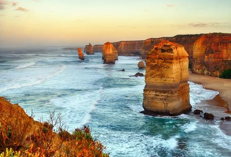 Twelve apostles sunrise in Port Campbell national park in Victoria, Australia. HDR processing technique.