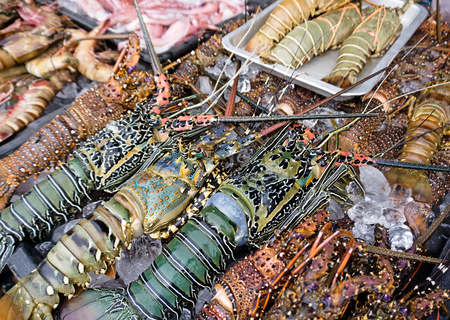 famous industries: Fresh lobster and other seafood sold at night market in Kota Kinabalu, Sabah Borneo, Malaysia. Stock Photo