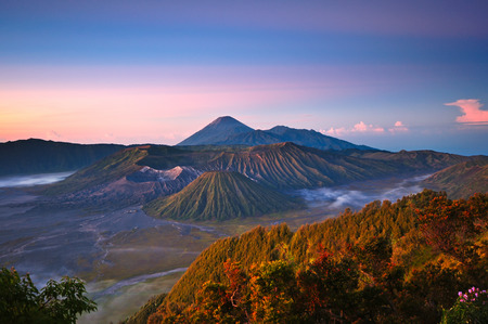 Indonesia, East Java, beautiful scenery at Mount Bromo Tengger Semeru National Park during sunrise. Stock Photo