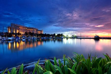 Kota Kinabalu, Malaysia - January 14, 2012: Sunset view at the Marina habour in Sutera resort Sabah Borneo Malaysia.
