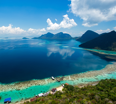 Beautiful view on top of Bohey dulang island in Tun Sakaran Marine park in the vicinity of Sipidan Mabul island, one of the top world diving site in the world. Stock Photo