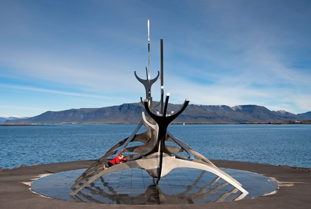 Reykjavik, Iceland - September 22, 2013: Sun Voyager monument, landmark of Reykjavik city, designed by Jon Gunnar Arnason.