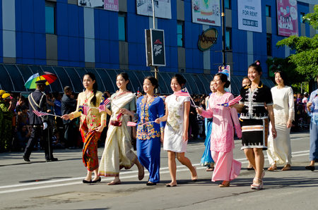 Kota Kinabalu, Malaysia - August 31, 2016: Multicultural Malaysian participate in 59th Independence day in Kota Kinabalu City square. Editorial