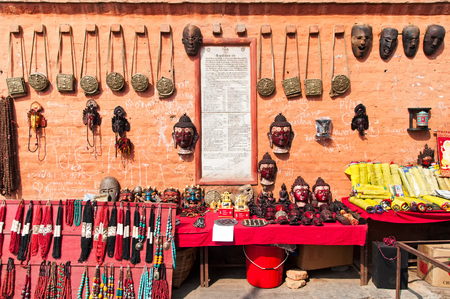 Outdoor Souvenirs and religious attributes shop near Swayambhunath Temple in Kathmandu Valley.