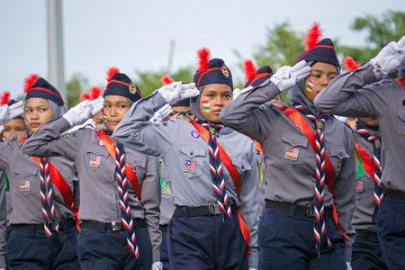 Kota Kinabalu, Malaysia - August 31, 2017: Girls Scouts saluting the Tuan Yang Di-Pertua Negeri of Sabah Borneo during 60th Independence Day celebration in Kota Kinabalu city, Sabah State.