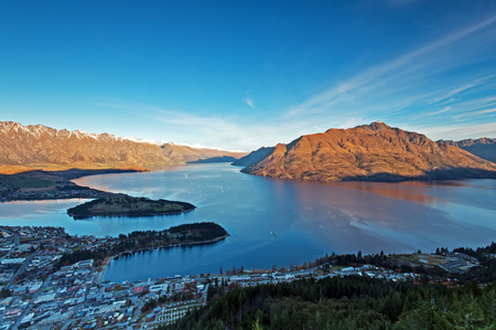Beautiful view of lake Wakatipu and Queenstown in South Island, New Zealand. Editorial