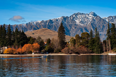 Beautiful view of Queenstown and Mt Remarkables in South Island, New Zealand.