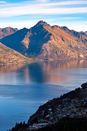 Cecil peak and Lake Wakatipu in Queenstown, South Island, New Zealand. Editorial