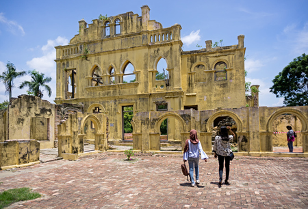 Ipoh, Malaysia - September 17, 2017: Local visitors at Kellies Castle, popular attraction in Ipoh, Perak. The unfinished, ruined mansion, was built by a Scottish planter named William Kellie Smith. Editorial