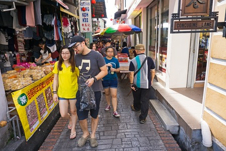 Ipoh, Malaysia - September 17, 2017: Local tourists at Concubine Lane in Ipoh, Perak. Concubine Lane is one of tourist attraction in Ipoh, capital city of Perak State.