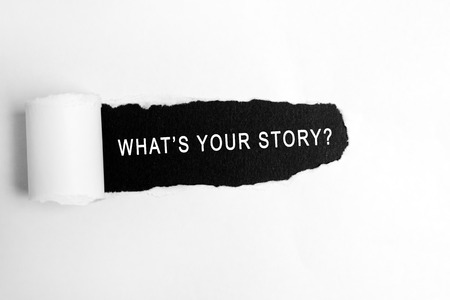 What your story? words on torn paper Banco de Imagens - 90798831