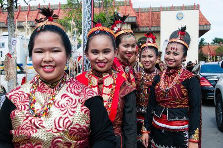 KOTA KINABALU, MALAYSIA - MAY 31, 2016: Group of people from Dusun Lotud ethnic during Sabah Harvest festival celebration in Kota Kinabalu, Sabah Borneo, Malaysia. Editorial