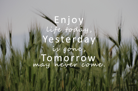 Inspirational Quotes - Enjoy life today, yesterday is gone, tomorrow may never come. Stock Photo