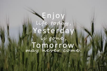 Inspirierende Zitate - Genieße das Leben heute, gestern ist weg, morgen wird es vielleicht nie mehr kommen.