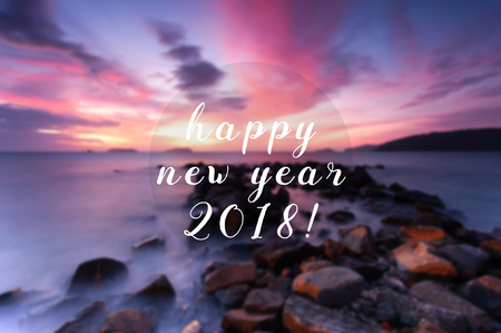 New Year inspirational quote - Happy New Year 2018. Blurry background.