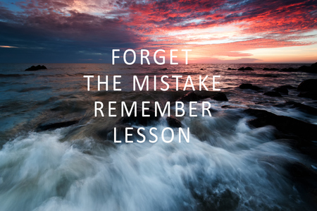 Inspirational Quotes - Forget the mistake remember the lesson. Blurry retro style background. Foto de archivo
