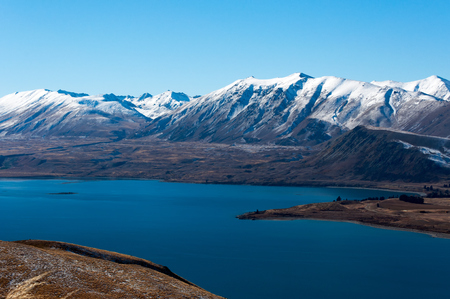 Scenic View of Lake Tekapo and Surrounding Mountains from Mount John Observatory