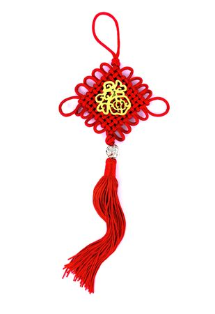 Chinese New Year ornament with Chinese Character Prosperity on white background.
