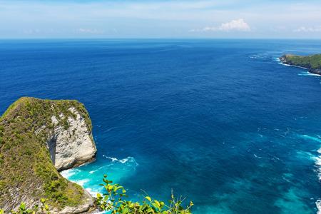 Beautiful view of Kelingking beach, its a hidden beach in the village of Bunga Mekar, on the southwestern coast of Nusa Penida island, Bali, Indonesia.