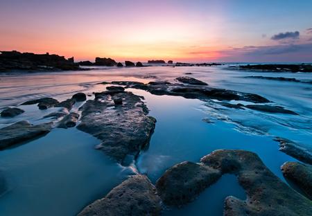Sunset at Indonesia Bali Beach, Long Exposure Background.