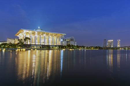 Night view of The Tuanku Mizan Zainal Abidin Mosque, or also known as Iron Mosque located in Putrajaya Malaysia