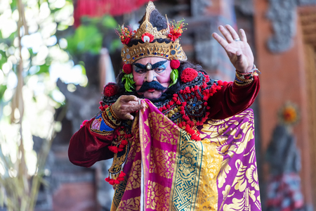 Denpasar, Indonesia - March 30, 2019: Characters in Barong dance performance, Balinese traditional dancing.