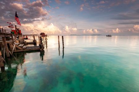 Seascape View Mabul Kapalai island in Sabah Borneo Malaysia Stock Photo