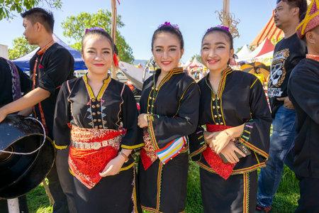 Kota Kinabalu, Malaysia - May 31, 2017: Young girl Kadazan Dusun in traditional indigenous Borneo attire during Kaamatan Harvest Annual Festival in KDCA Sabah. Editorial
