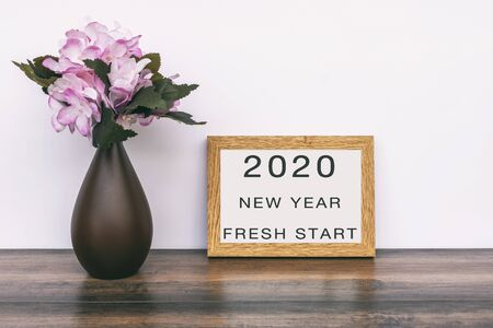2020 New Year Fresh Start text on Poster Frame