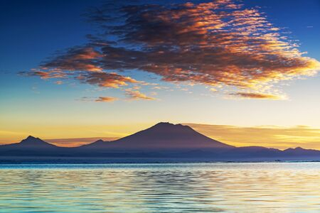 Mount Agung volcano view from Sanur Beach Bali Indonesia Archivio Fotografico