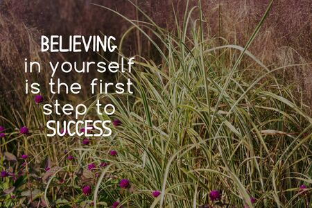 Inspirational quotes Believing in yourself in the first step to success. Blurry background Imagens - 139892422