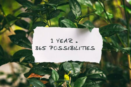 Motivation and inspirational quotes - 1 year = 365 possibilities. Blurry background.