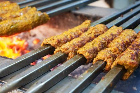 Indian Chicken and Mutton Kebabs at Chandni Chowk in Old Delhi India Imagens