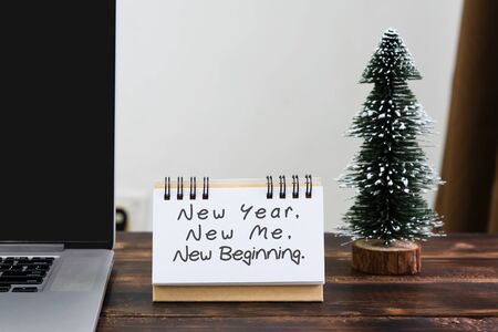 new year new me new beginning inspirational quotes stock photo