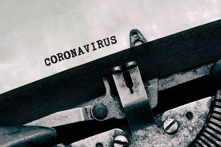 Coronavirus text on vintage typewriter