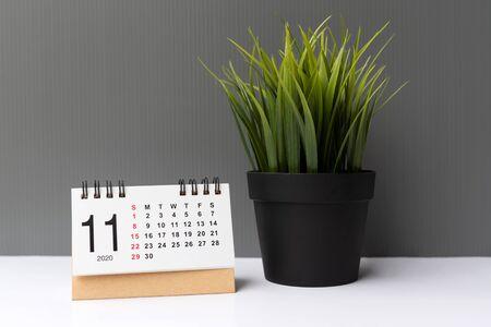 November 2020 calendar grey backgrounds