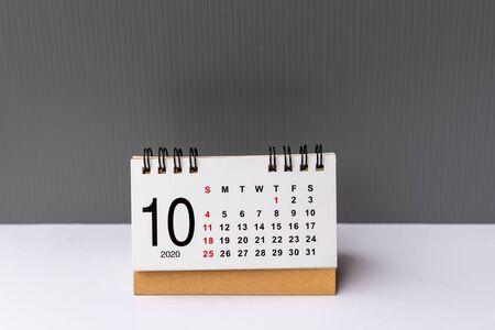 October 2020 calendar grey backgrounds