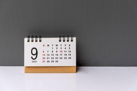 September 2020 calendar grey backgrounds Imagens