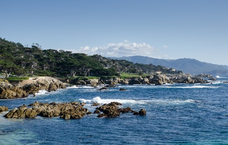 Coastline along the 17 Mile Drive in Pebble Beach of  Monterey Peninsula. California. Large waves coming to rocks.