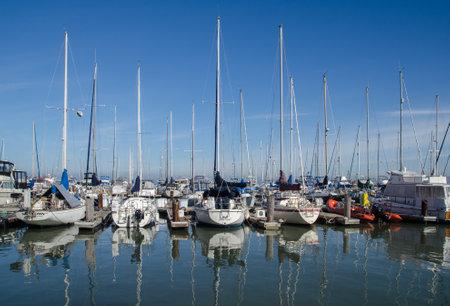 ship bow: SAN FRANCISCO, CALIFORNIA, USA - JANUARY 21, 2015: Sailing boats at Fishermans Wharf. Pier 39