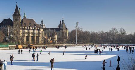 skate park: BUDAPEST, HUNGARY - DECEMBER 9, 2016: Panoramic view of people on ice skating rink near the Vajdahunyad Castle. Budapest, Hungary