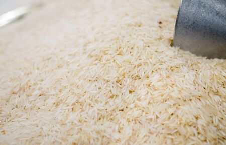 Macroshot of long rice, sale on local city market Zdjęcie Seryjne