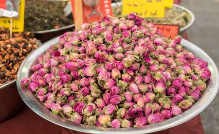 Dried rose buds  for sale at Mahane Yehuda Market, popular marketplace in Jerusalem, Israel