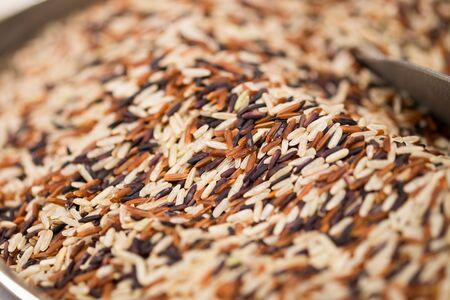 Macroshot of colored rice, sale on local city market