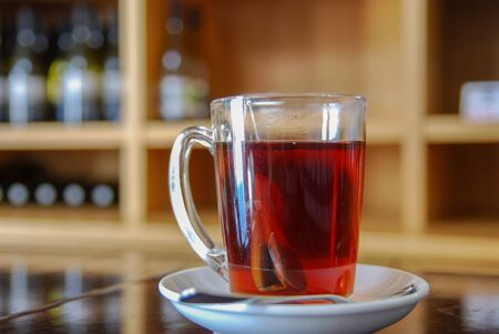 Cup of tee at the winery cafe Stok Fotoğraf
