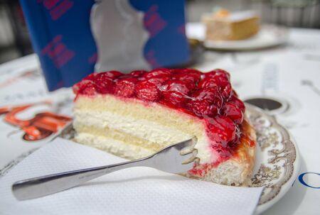 raspberry cheesecake served on plate