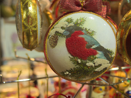 Bauble with bullfinch ornament Stock Photo