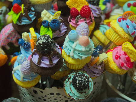 Sweets, fruit and ice cream painted plastic figurines