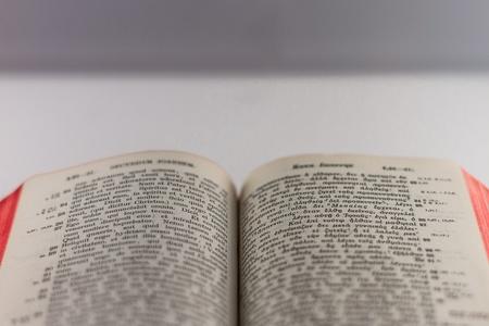 catholicity: Open bible in Latin and Greek language Stock Photo
