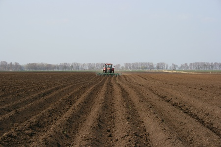 Tractor plowing rows on a field in spring photo